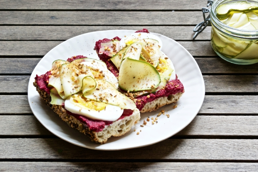 beet toast with zucchini pickles and egg