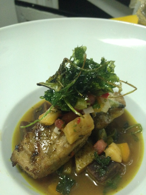 Keep it simply, pepper pot mahi mahi. Local mahi serve on a broth of ground provision ,and top with a ginger fruit salsa, that's how we share the love