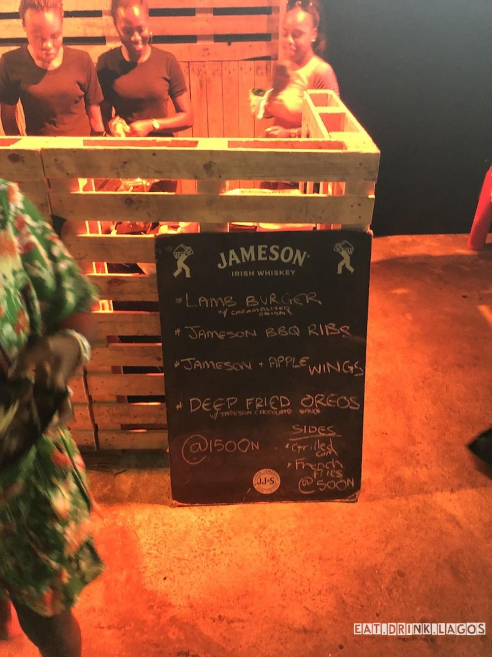 The AJs menu