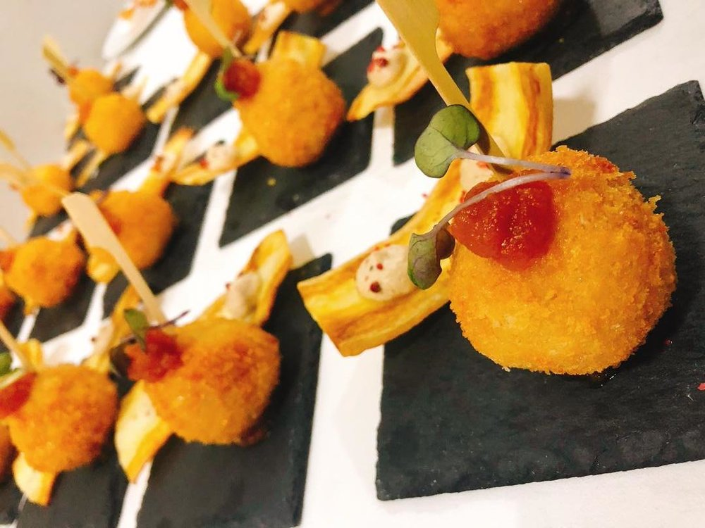 Truffle Arancini with Rodo Jam, Cassava Crisp and Cow Leg Cream by Chef SiA