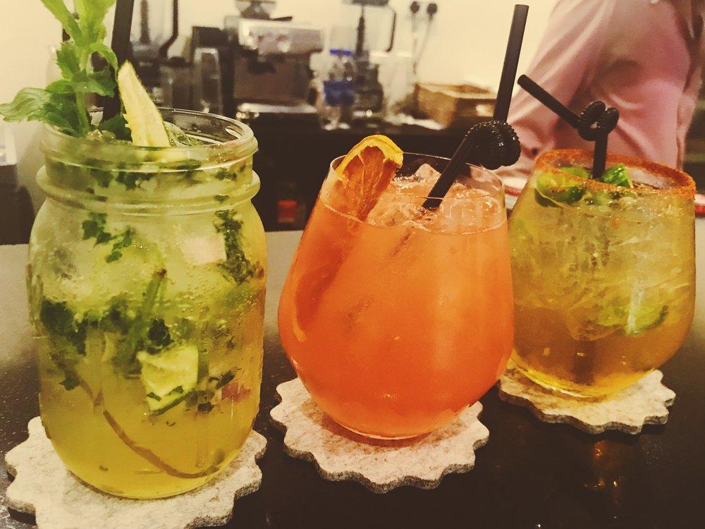 L-R : Lemon Grass Mojito, Cool Mule and Grapefruit Jalapeno Margarita