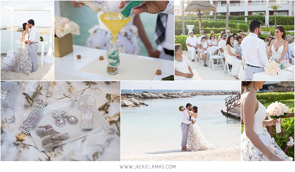 A bling whimsical wedding in Cancun, Mexico.