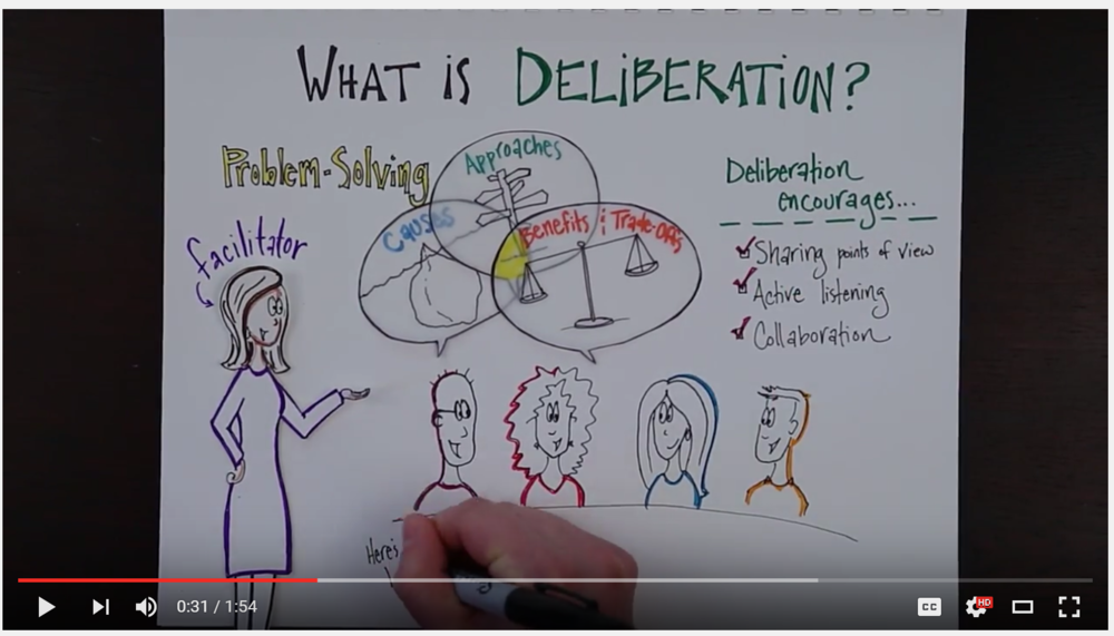 My newest  explainer video  collaboration is out! Click the image above to find out how dliberative dialogue and facilitation can shift the conversation from adversarial and argumentative to curious and productive. Thanks to  Creek Consulting  for the inspiration &  Wes White  at Shadowlands Media for the excellent production.