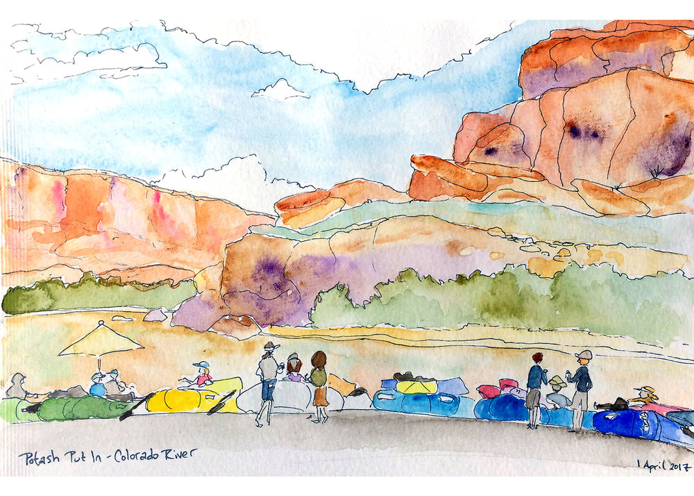 The first week of April we got to take some time off and float through Cataract Canyon in Utah. I love rafting because I get to disconnect completely, be present, and enjoy the beauty of the Canyon and my friends. I always try to sneak in a bit of plein air watercolor, and waiting for the shuttle was a perfect moment to do a quick sketch.