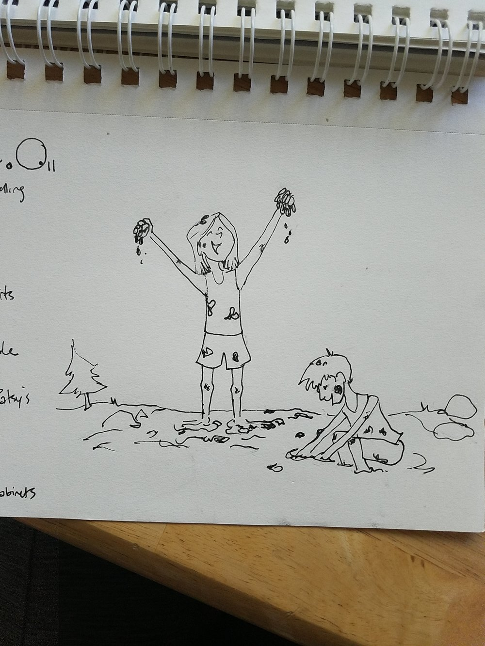 In the Studio:  Editing a video about Fire Adapted Communities, Journey Mapping for an international corporation, and illustrating a holiday card for a local foundation! Since I don't photograph myself in the studio, here's a fun sketch I did for International Day of the Girl, celebrating adventures and mud puddles for girls everywhere!