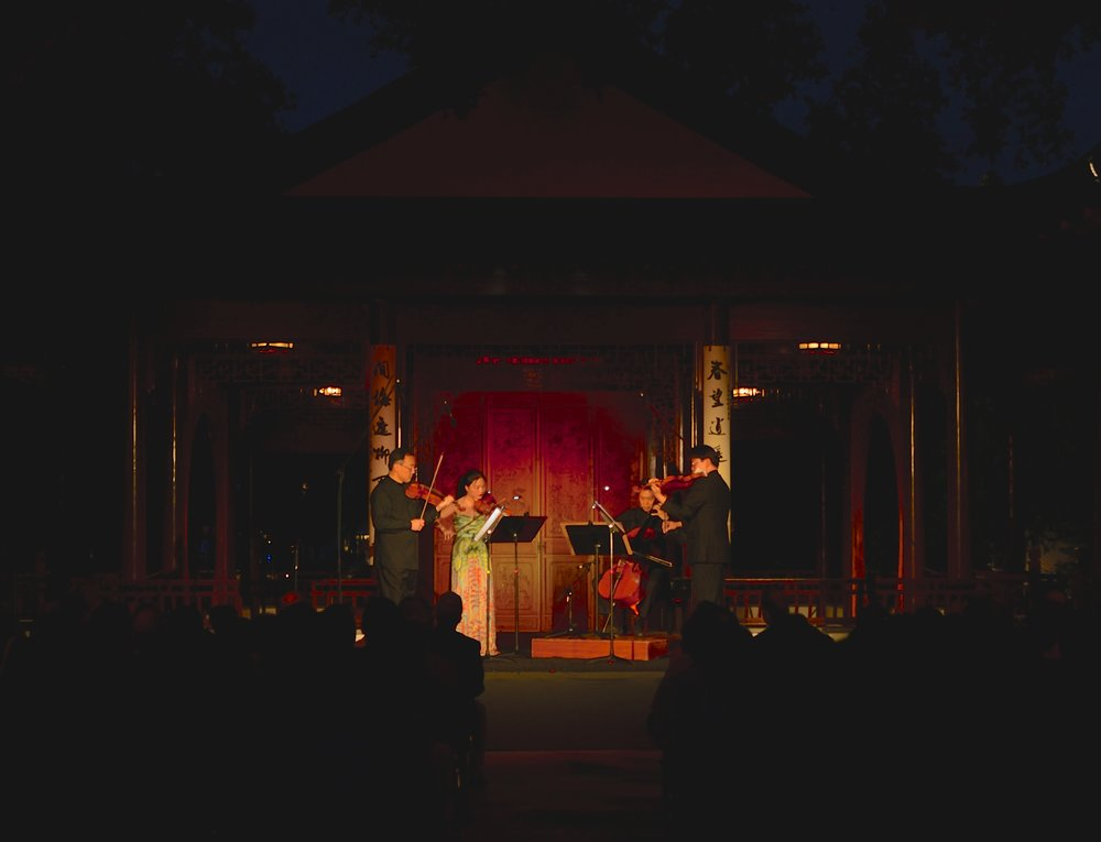 Performance at the Huntington Library in Pasadena with Cho-Liang Lin, Che-Yen Chen, and Ben Hong. (photo by Malchon Kao)
