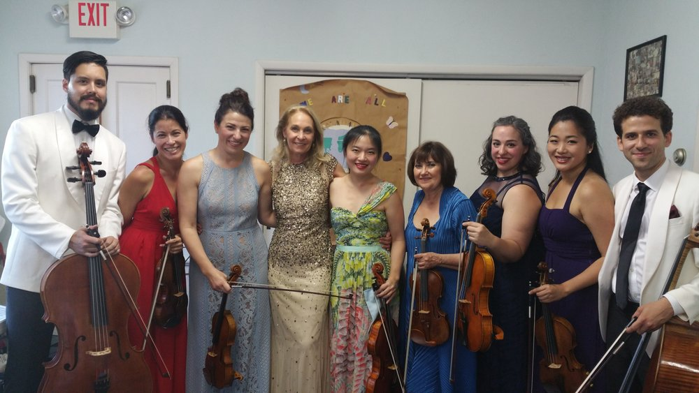 Dream team at the Bridgehampton Chamber Music Festival (Left to right: Michael Nicolas, Jennifer Fraustchi, Amy Schwartz Moretti, Marya Martin, (me), Ani Kavafian, Beth Guterman Chu, Kristin Lee, and Nicholas Canellakis.
