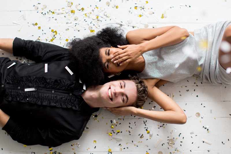 Couple celebrates with confetti