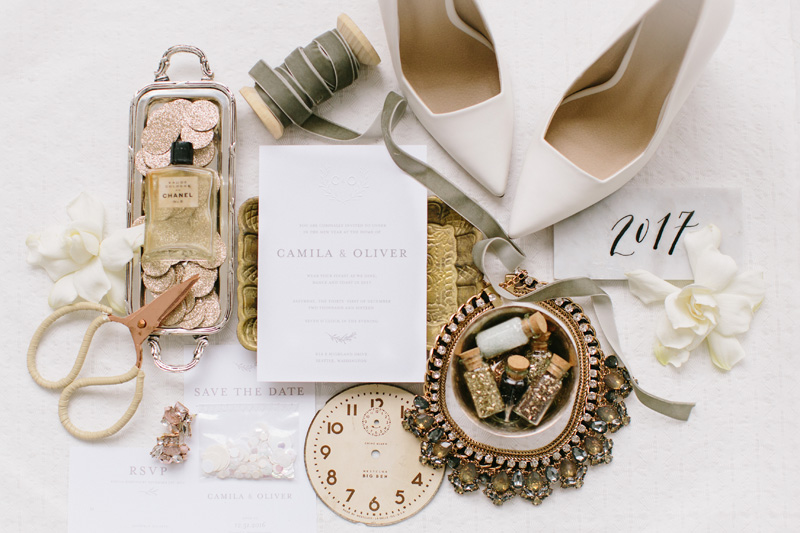 Elegant Gold and White Invitations