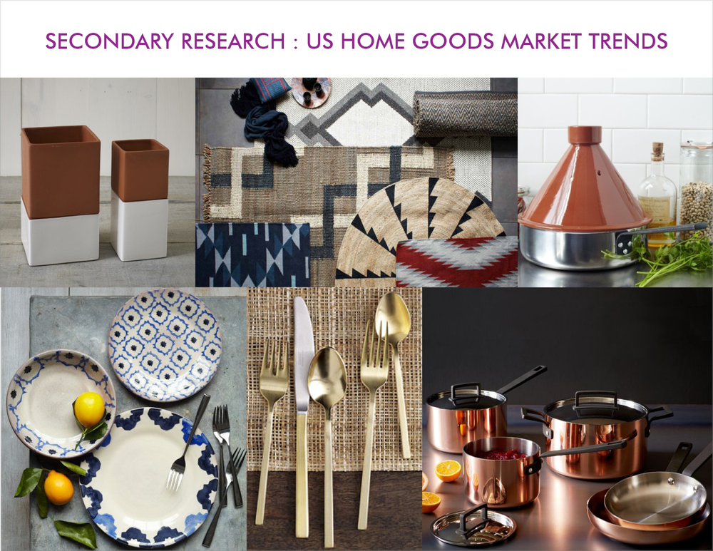 Trends in American Markets were spotted towards earthy terracotta, sometimes Cultural influences like Moroccan Tagines, blue and white ceramics,, Indian textiles in Ikats and printing techniques, Copper and Brass cooking utensils showed signs of Transculturation already in progress, as people look for meaning in the objects at home.