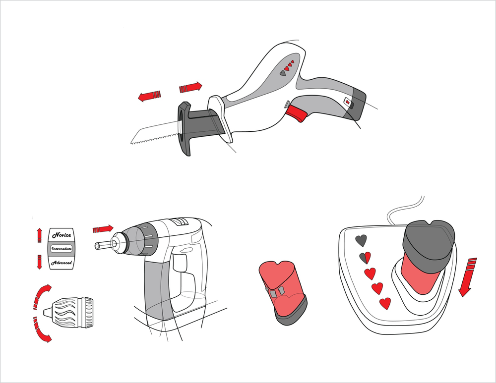 custom tools like a battery operated cutter that can be operated in both directions, a hand-held power tool with different difficulty levels allow a beginner to ease in with speed and power of the tool, and a heart shaped battery station to evoke familiar imagery for the demographic.