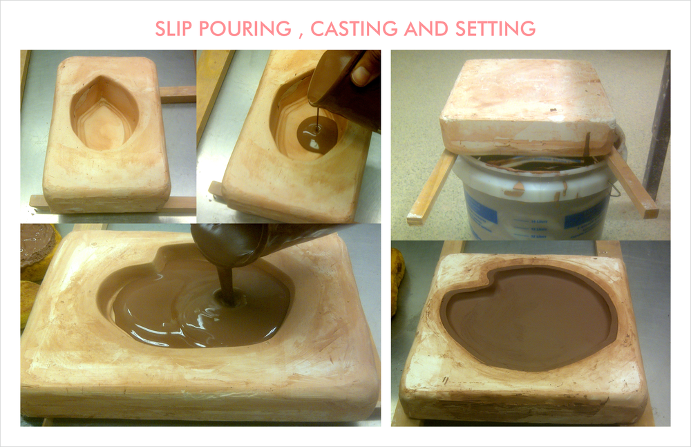 Slip is prepared and left to cure overnight and poured into the molds. After a setting time, they are overturned in the slip bucket and the walls are carved out after drying and contraction. Subsequently finished with a sponge.