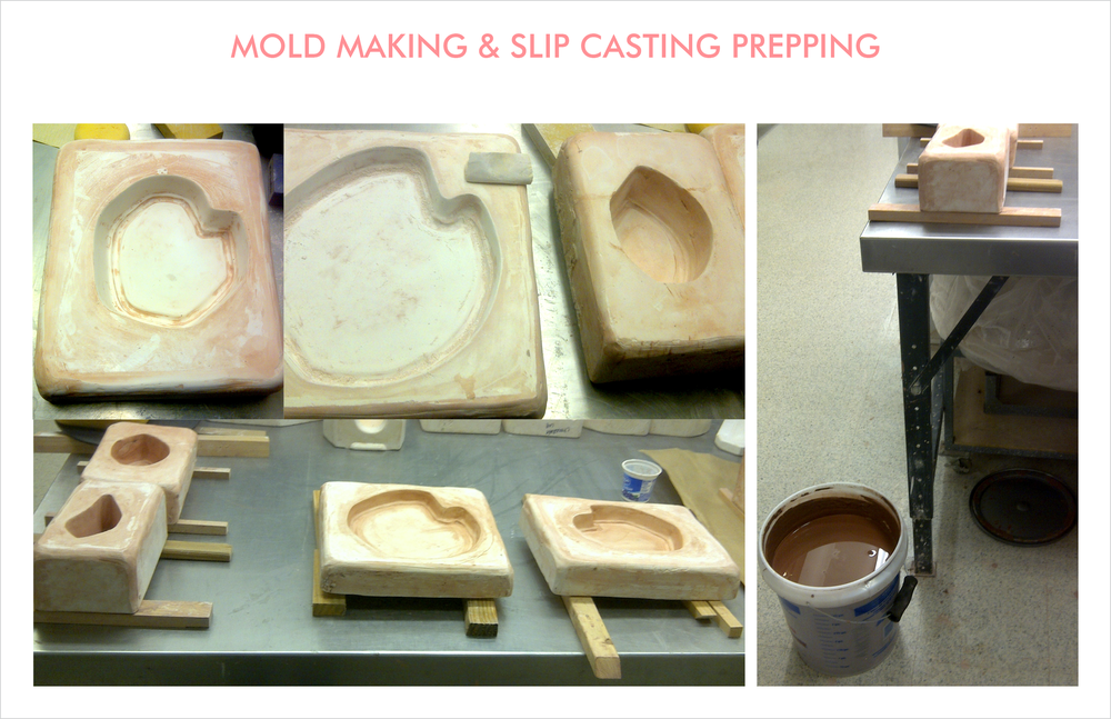 negative plaster molds are prepared from positive clay molds and left to dry. they are chiseled and sanded and prepped for slip casting on supports