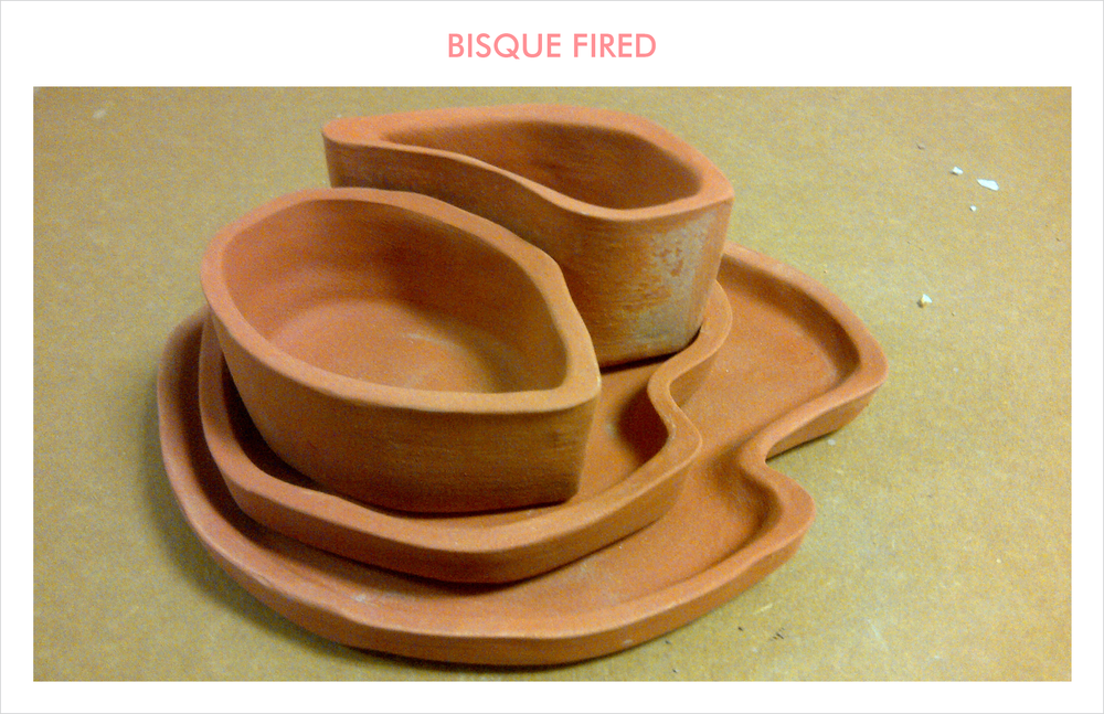 The nesting arrangement of the 4 piece assortment after it is bisque fired