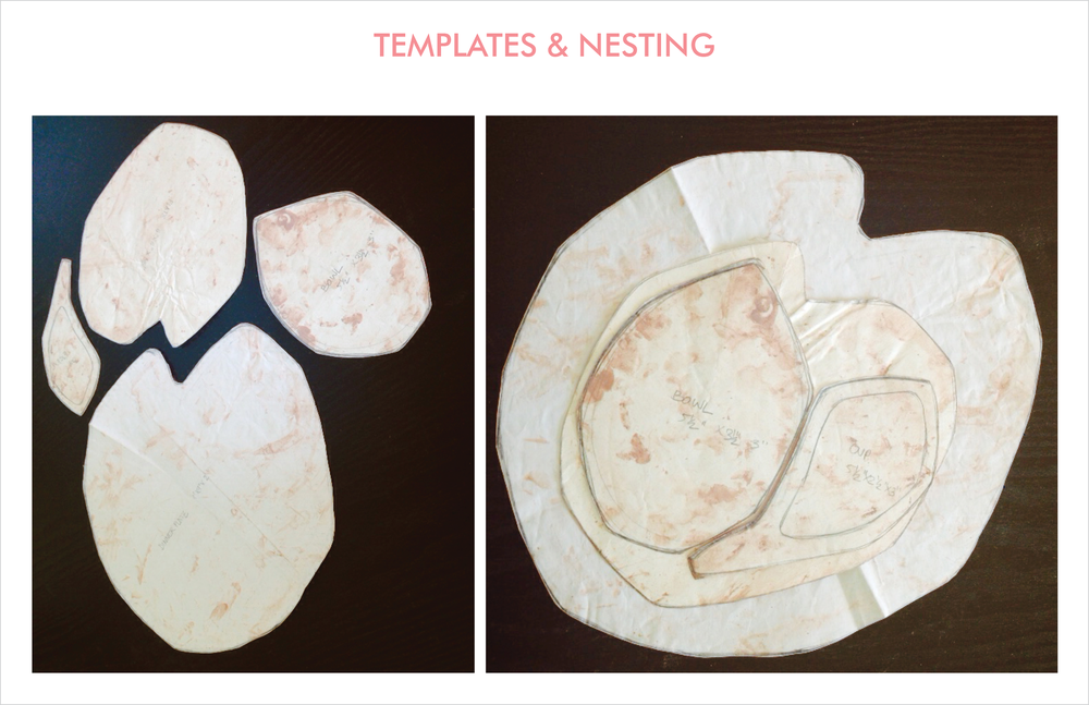 soft geometric abstractions of the lotus leaves and buds are explored and tested on templates for nesting opportunities