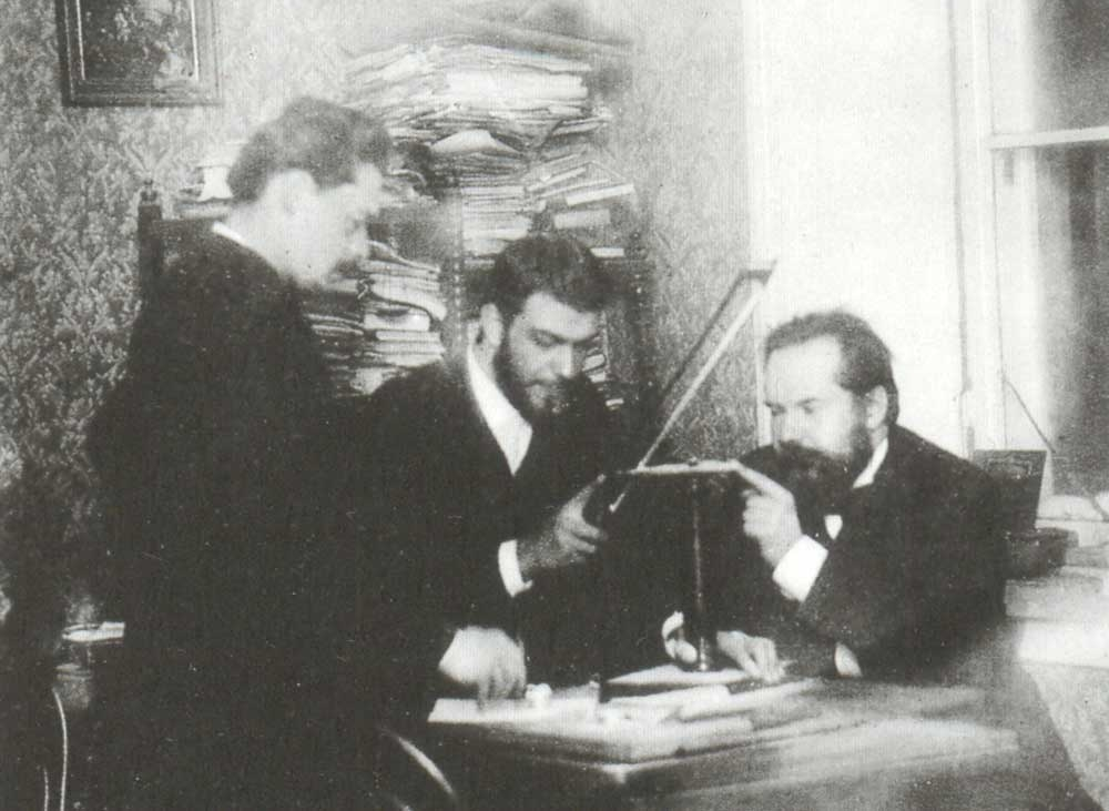 Arensky, Zvantsev and Taneyev in one of the class rooms of the Moscow Conservatoire.