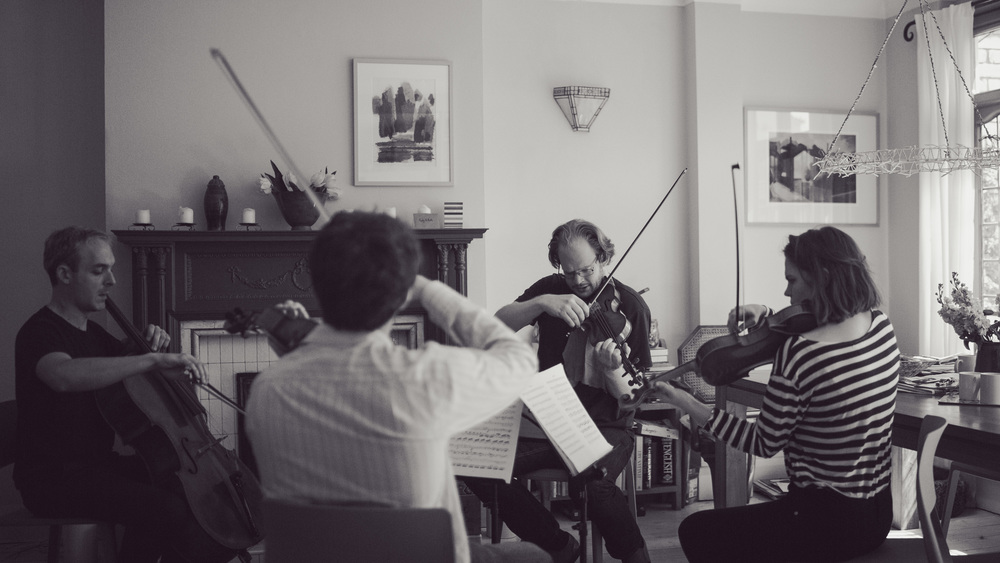 Pierre Doumenge, Timothy Ridout, Michael Gurevich and Beatrice Philips rehearsing Tchaikovsky Second Quartet.