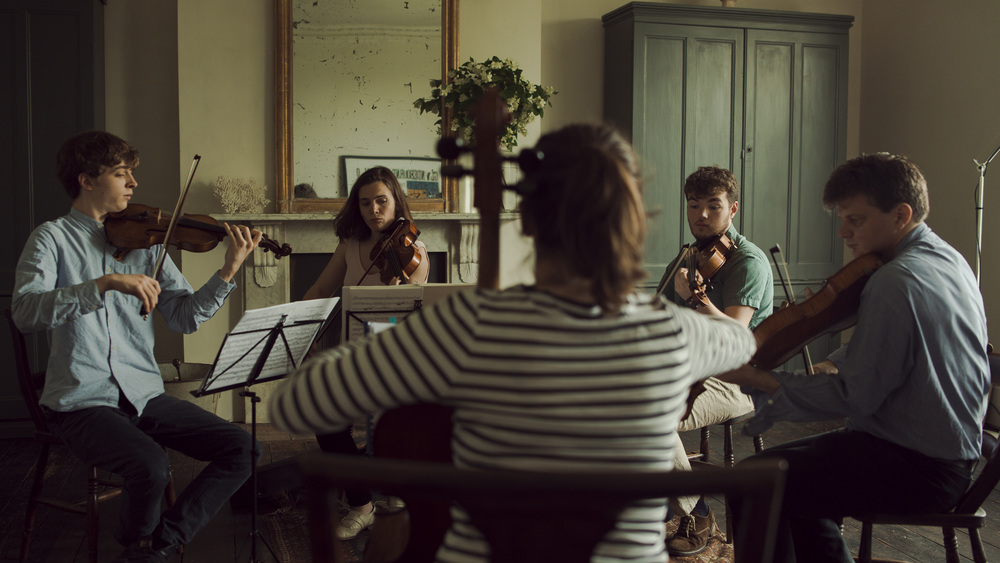 Tim Crawford, Beatrice Philips, Hannah Sloane, Timothy Ridout and James Boyd rehearsing Taneyev's Second String Quintet.