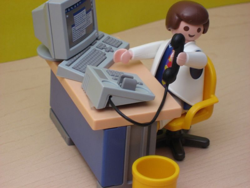 Playmobil Man - Desk and Phone  by Carsten Knoch