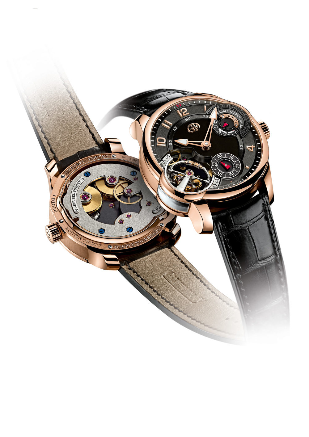 Double Tourbillon Asymetrique in Red Gold case with black dial