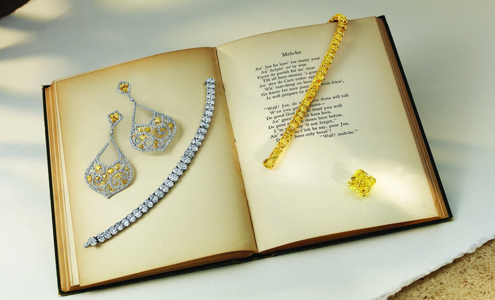 Yellow Diamond Ring, Yellow Diamond Tennis Bracelet and Yellow Diamond Earrings