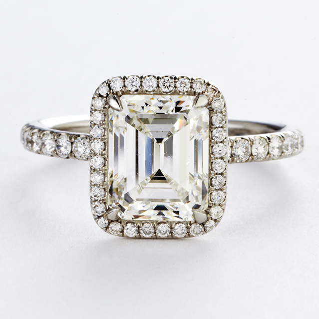 PLATINUM, EMERALD CUT DIAMOND HALO RING