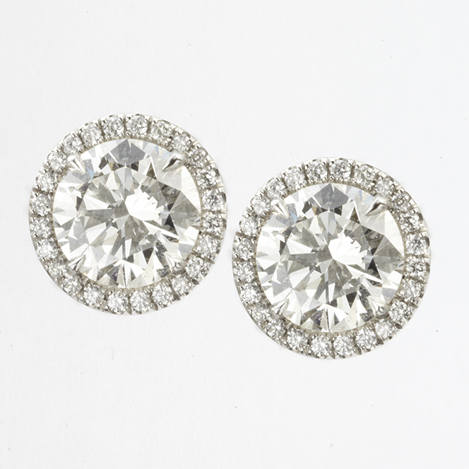 PLATINUM, BRILLIANT CUT DIAMOND HALO EARRINGS