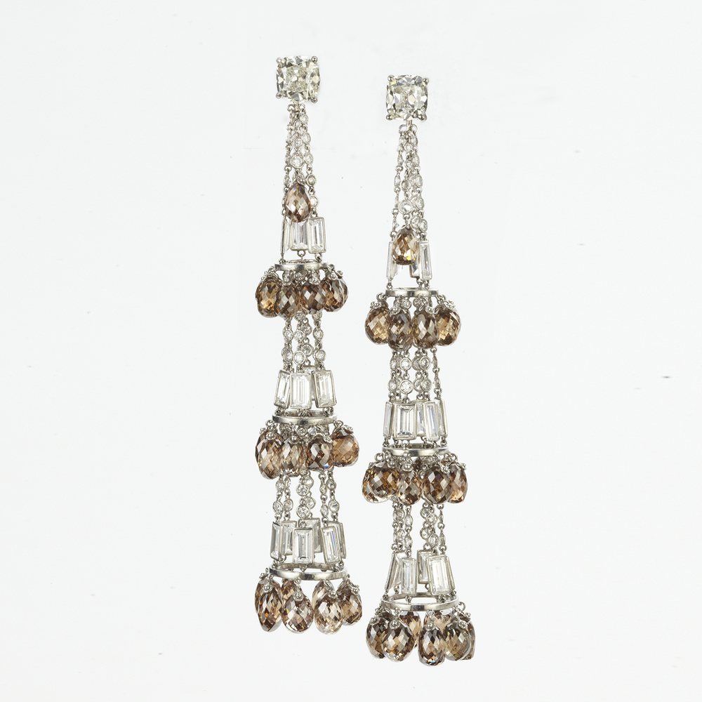 CUSTOM MADE PLATINUM AND DIAMOND CHANDELIER EARRINGS