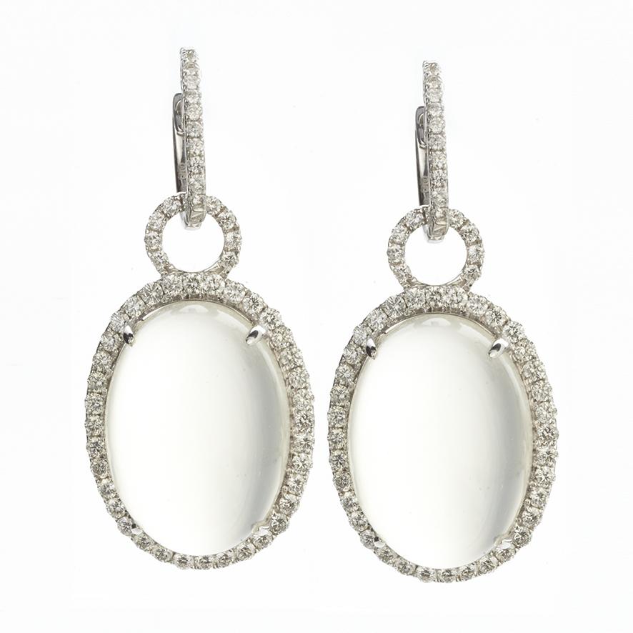 18 KARAT WHITE GOLD MOONSTONE AND DIAMOND EARRINGS