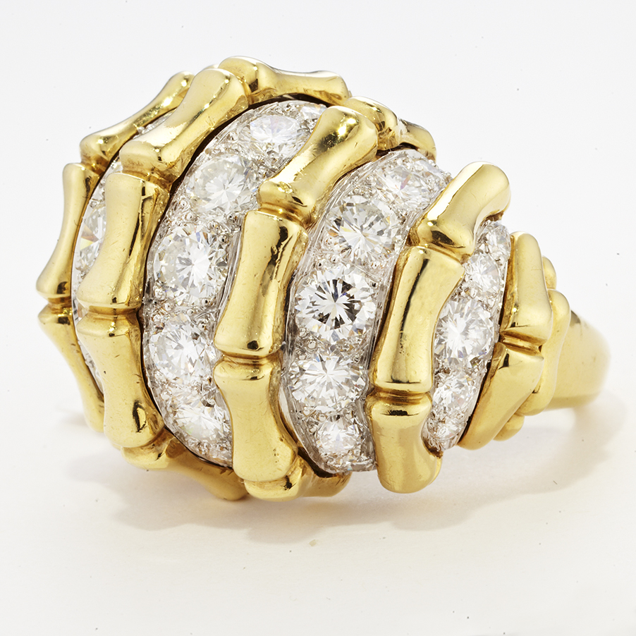 18 KARAT GOLD BAMBOO AND DIAMOND RING