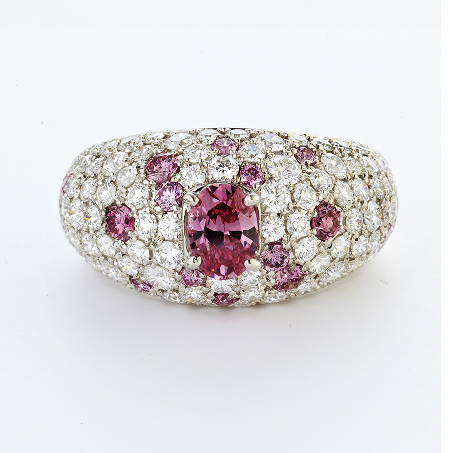 PLATINUM, DIAMOND AND PINK DIAMOND DOME RING