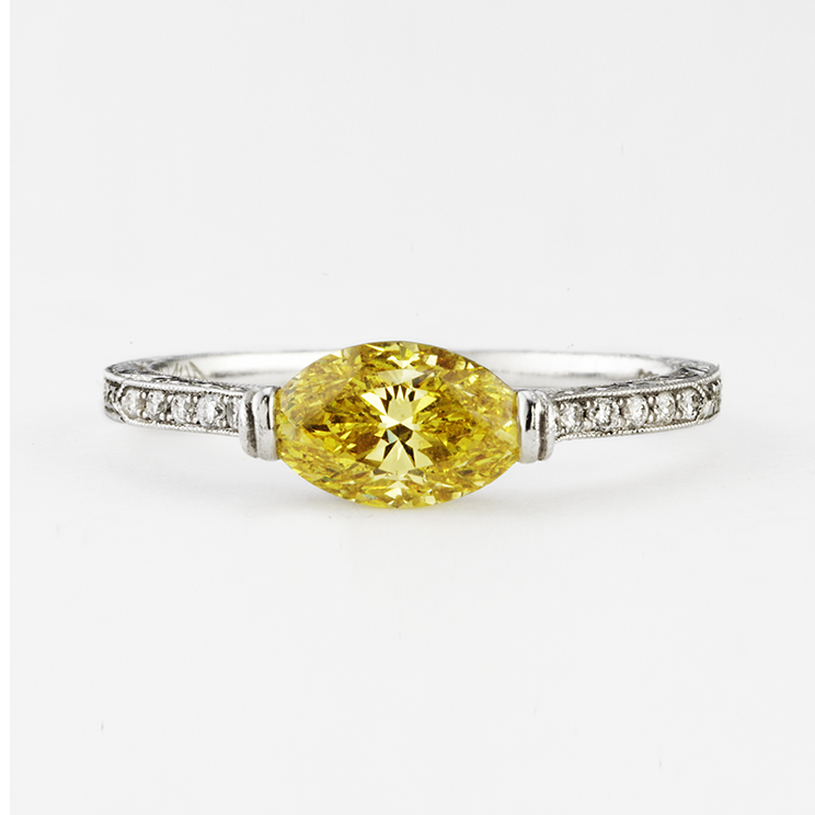 PLATINUM WITH YELLOW DIAMOND RING