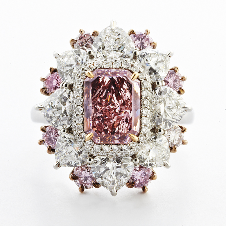 PLATINUM, ROSE GOLD AND PINK DIAMOND RING