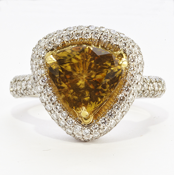 PLATINUM, YELLOW ZIRCON AND DIAMOND RING