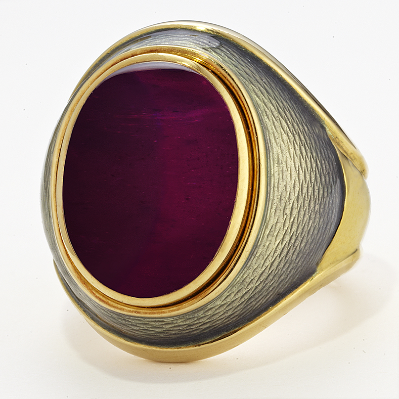 18 KARAT YELLOW GOLD RUBELLITE RING