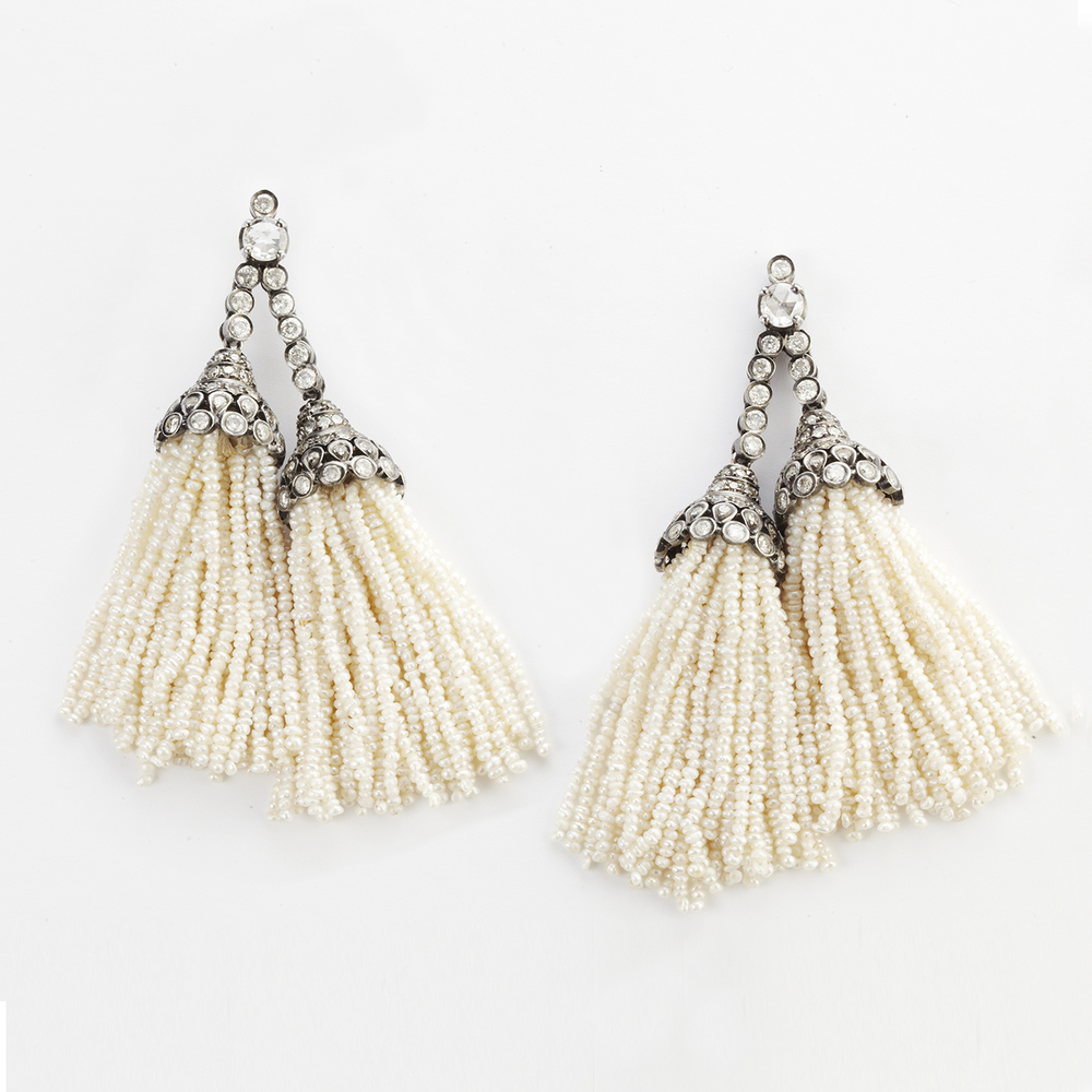 SEED PEARL AND DIAMOND DOUBLE TASSEL EARRINGS
