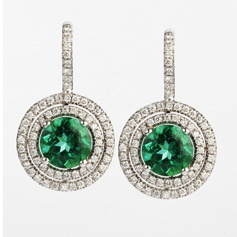 18 KARAT WHITE GOLD EMERALD AND DIAMOND CONCENTRIC CIRCLE EARRINGS