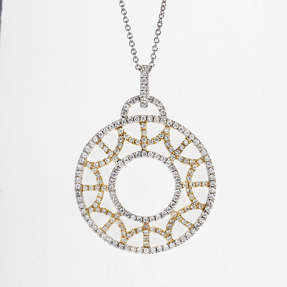 14 KARAT WHITE GOLD AND YELLOW GOLD OPEN CIRCLE NECKLACE