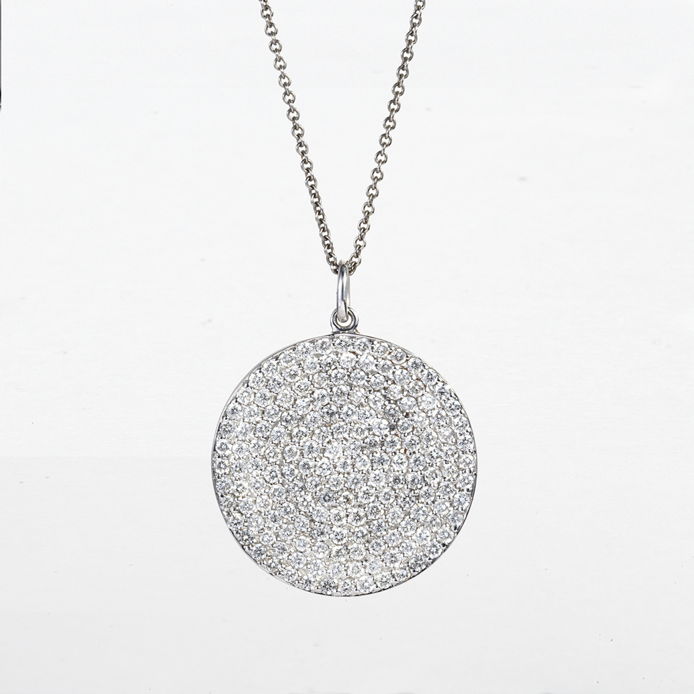 14 KARAT WHITE GOLD CIRCULAR DIAMOND PENDANT