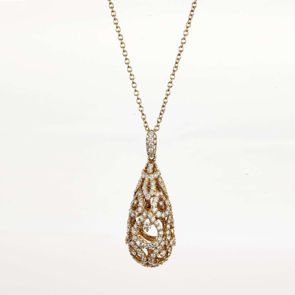 14 KT YELLOW GOLD AND DIAMOND PENDANT NECKLACE