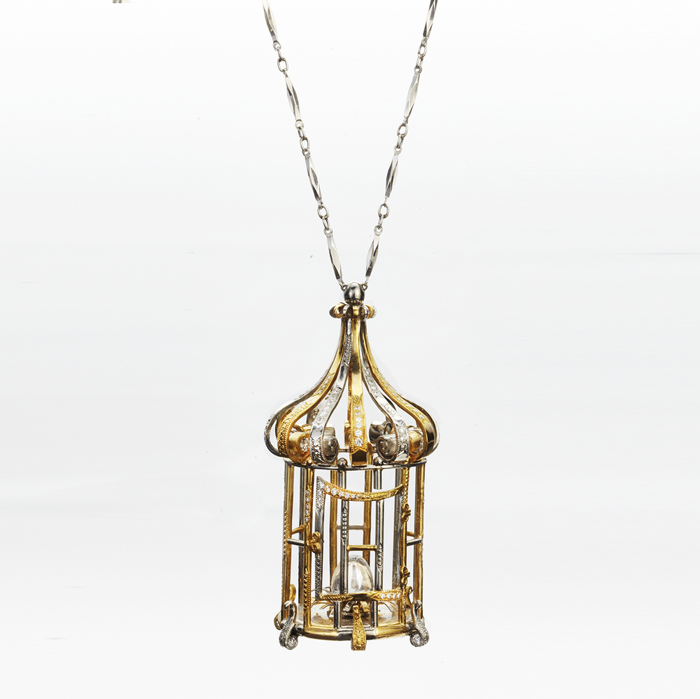 PLATINUM AND 22 KARAT YELLOW GOLD VENETIAN BIRDCAGE PENDANT NECKLACE WITH DIAMONDS AND MOONSTONE