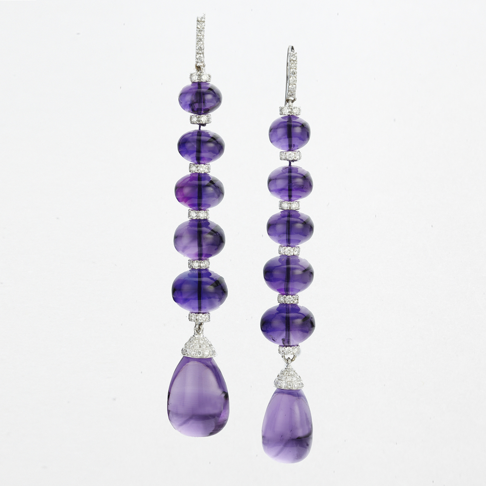 18 KARAT WHITE GOLD, AMETHYST AND DIAMOND DROP EARRINGS
