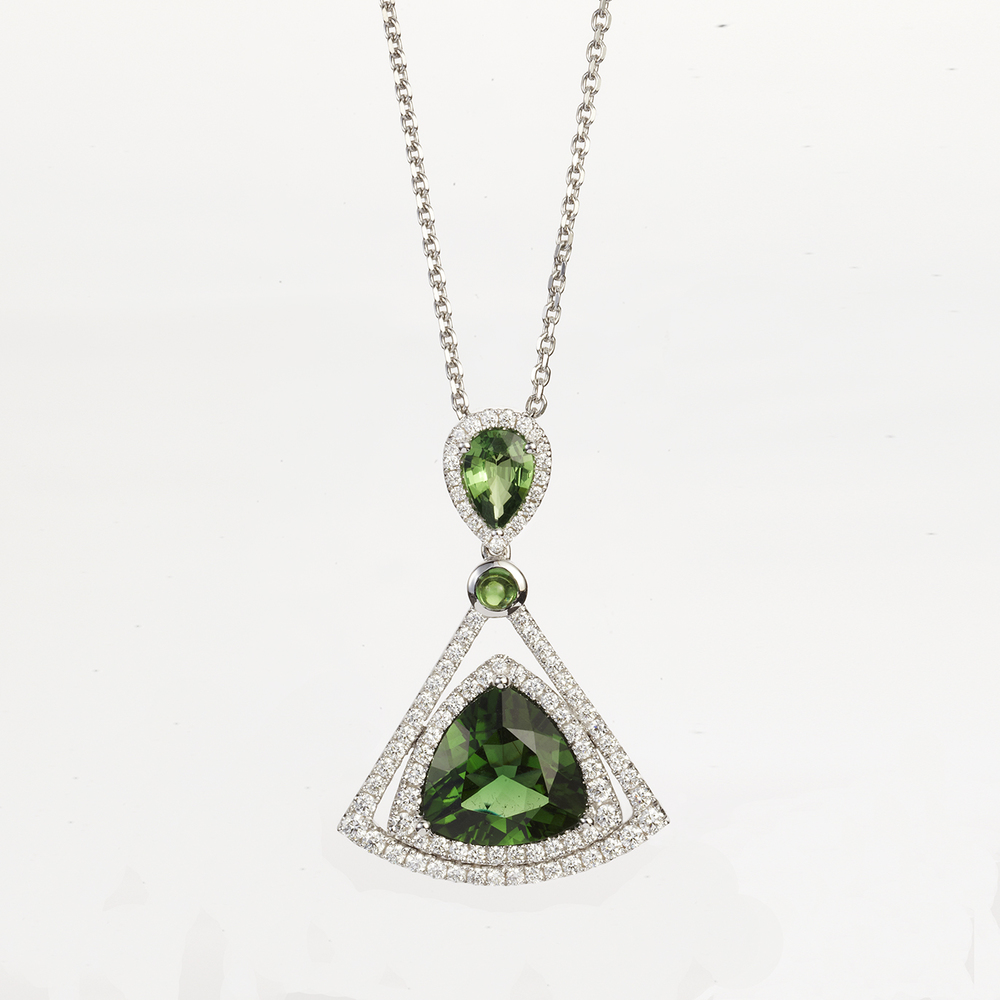 WHITE GOLD TOURMALINE, GARNET AND DIAMOND PENDANT NECKLACE