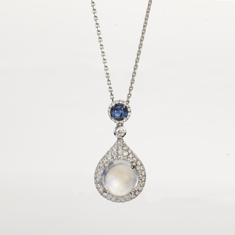 RAINBOW MOONSTONE, SAPPHIRE AND DIAMOND PENDANT ON A WHITE GOLD CHAIN