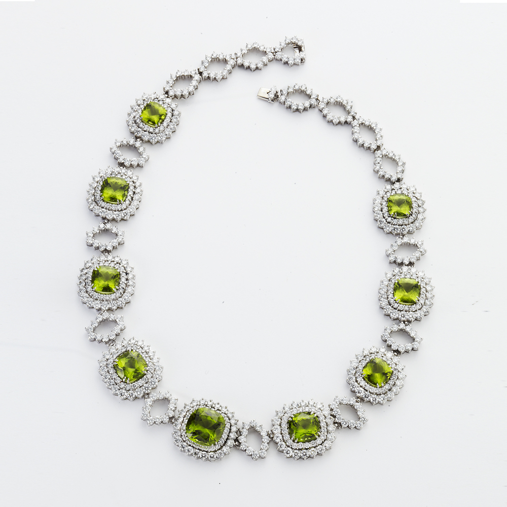 PLATINUM PERIDOT AND DIAMOND NECKLACE