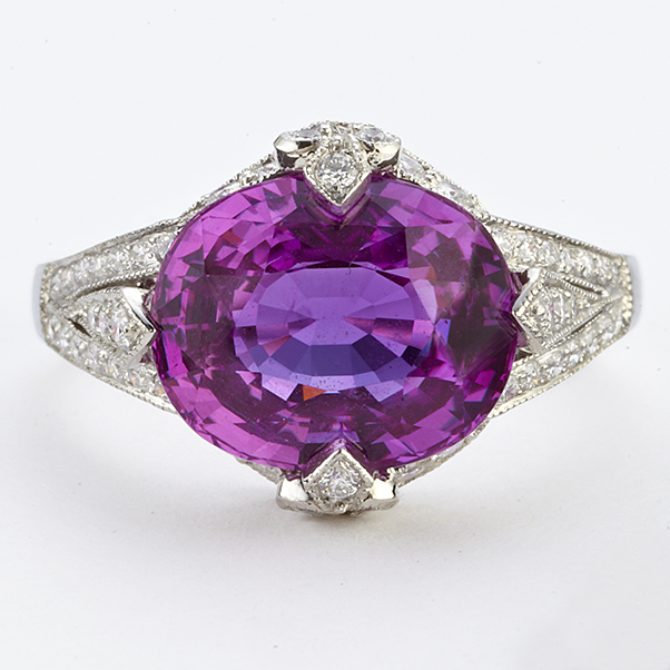 PLATINUM, PINK SAPPHIRE AND DIAMOND RING