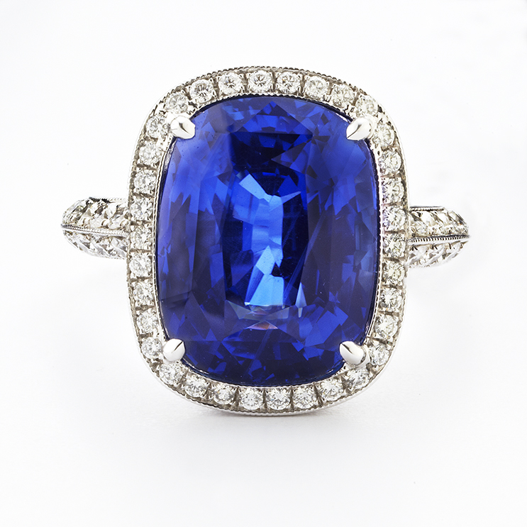 PLATINUM, BURMA SAPPHIRE AND DIAMOND RING