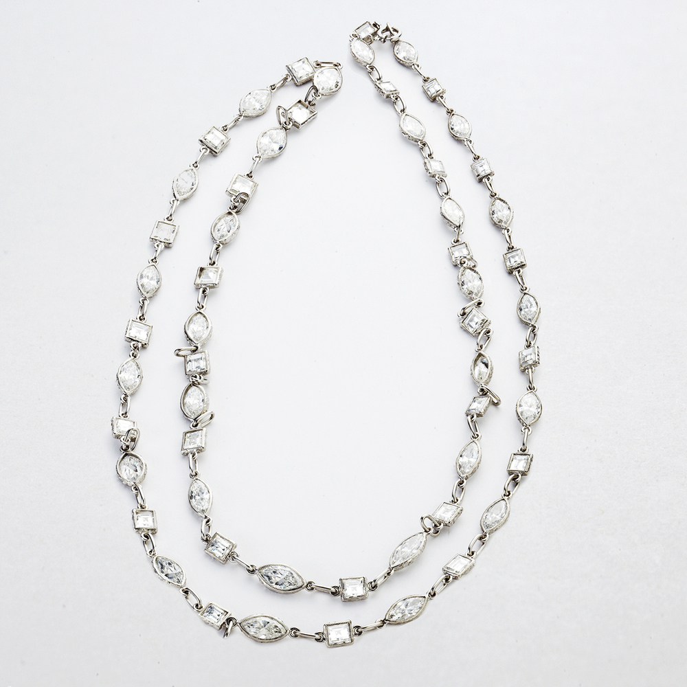PLATINUM AND DIAMOND LONG CHAIN