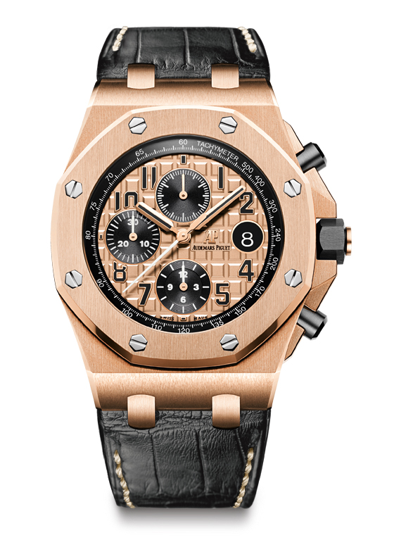 "ROYAL OAK OFFSHORE CHRONOGRAPH : REF. 26470OR.OO.A002CR.01 Royal Oak Offshore Chronograph. Selfwinding Manufacture Calibre 3126/3840. Chronograph, hours, minutes, small seconds and date. 18-carat pink gold case, glareproofed sapphire crystal and caseback, black ceramic screw-locked crown and pushpieces. Pink gold-toned dial with ""Méga Tapisserie"" pattern, black counters, black Arabic numerals with luminescent coating, pink gold Royal Oak hands with luminescent coating, black inner bezel. Hand-stitched ""large square scale"" black alligator strap with 18-carat pink gold pin buckle. Water-resistant to 100 metres. 42 mm."