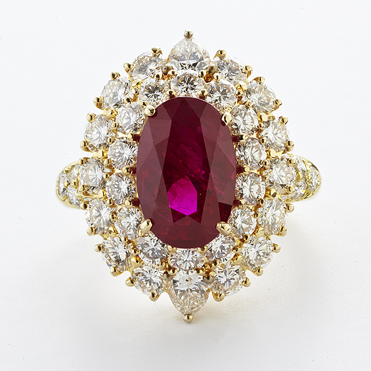 18 KARAT YELLOW GOLD, RUBY AND DIAMOND RING